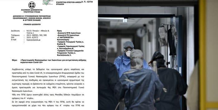 Με εντολή της ΥΠΕ.. 4η ΜΕΛ στο Πανεπιστημιακό, Μονάδες Covid στο Χατζηκώστα- Το έγγραφο