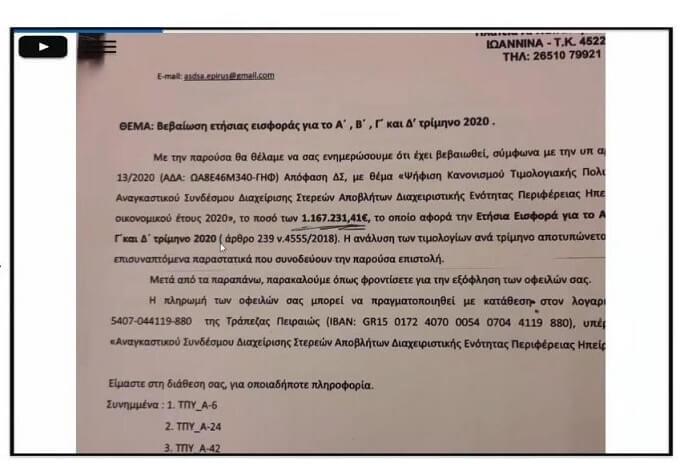 1,2 εκ. οι χρεώσεις του ΦΟΔΣΑ στα Γιάννινα!