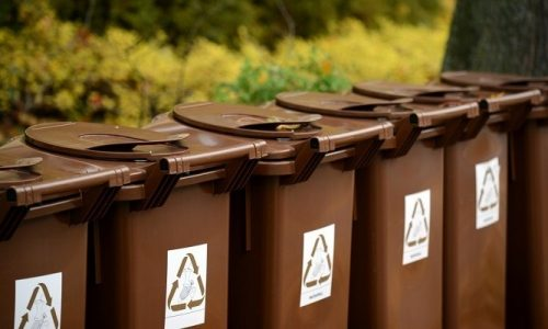 Recycle bins outdoors
